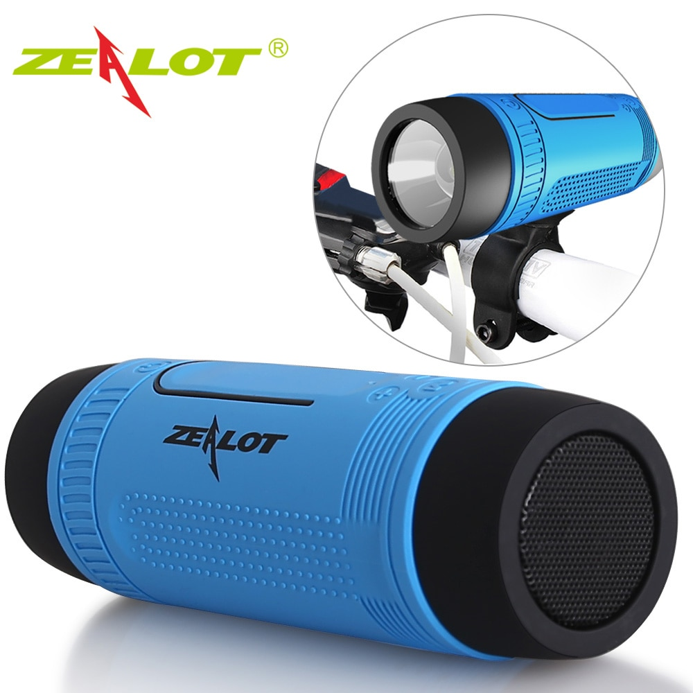 Zealot S1 Bluetooth Speaker Radio Portable Outdoor Mini Column Waterproof Wireless Bicycle Speaker Boombox Support TF,FM,AUX