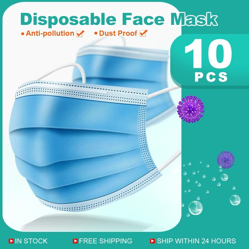 10-500PCS Mask Disposable Nonwoven 3 Layer Ply Filter Ma...