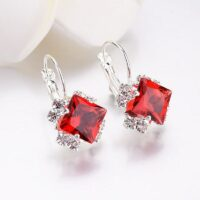 Crystal Square Stud Earrings for Women Trendy New Bridal Earrings Accessories Fashion Christmas Jewelry Girl Gift