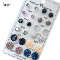 12 pairs/set Crystal Fashion Earrings Set Women Jewelry Accessories Piercing Ball Stud Earring Kit Bijouteria