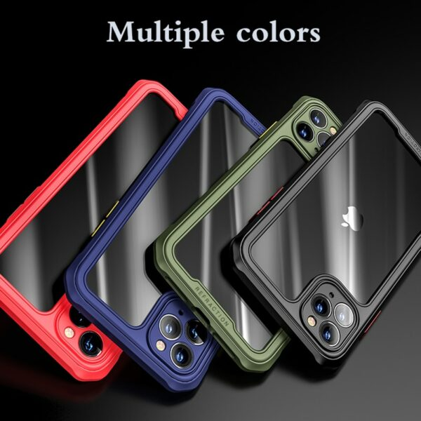 Armor Bumper Anti Shock Silicon Phone Case For iPhone 12 11Pro Max XR XS Max X 8 7 Plus Transparent Shockproof Airbag Back cover