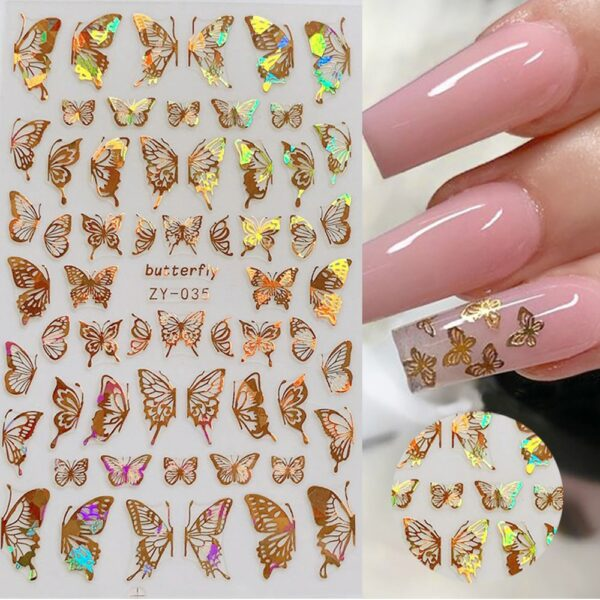 1pc Holographic 3D Butterfly Nail Art Stickers Adhesive Sliders Colorful DIY Golden Nail Transfer Decals Foils Wraps Decorations