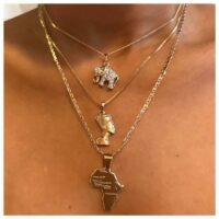 3 Pcs/Set Vintage Crystal Elephant Pyramid Ancient Egyptian Pharaoh Map Pendant Multilayer Gold Necklace Punk Lady Jewelry Gifts