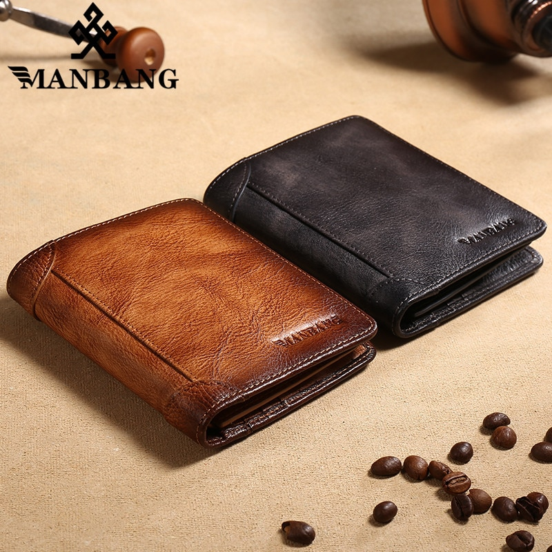 100% Genuine Leather Men Wallet Small Mini Card Holder Male Pocket Retro High Quatily Wallets