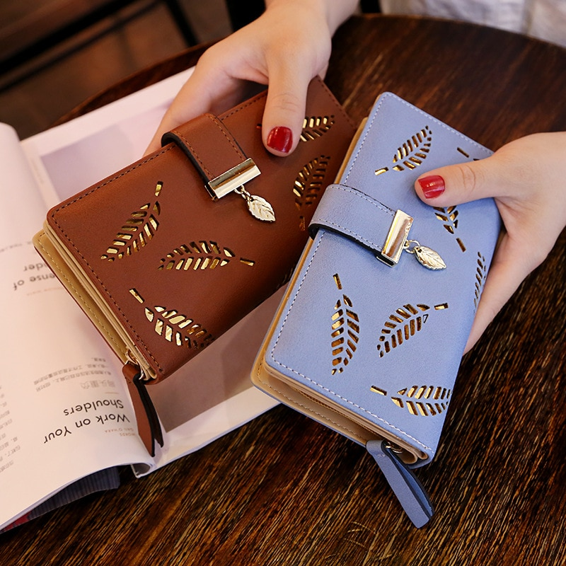 Gold Hollow Leaves Women Wallet PU-Leather Purse Female Long Wallet Pouch Handbag For Women Coin Purse Card Holders Clutch