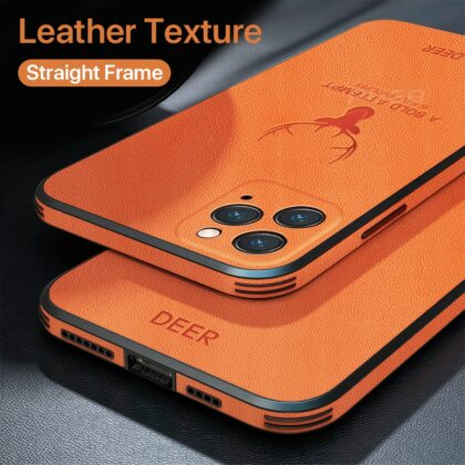 Luxury Leather Texture Square Frame Case on For iPhone 1...
