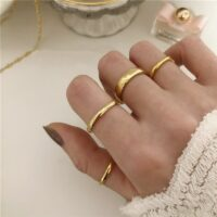 9 Sizes Polished Wide Thin Gold Rings Titanium Steel Geometric Rings for Women Round Circle Minimalist Ring