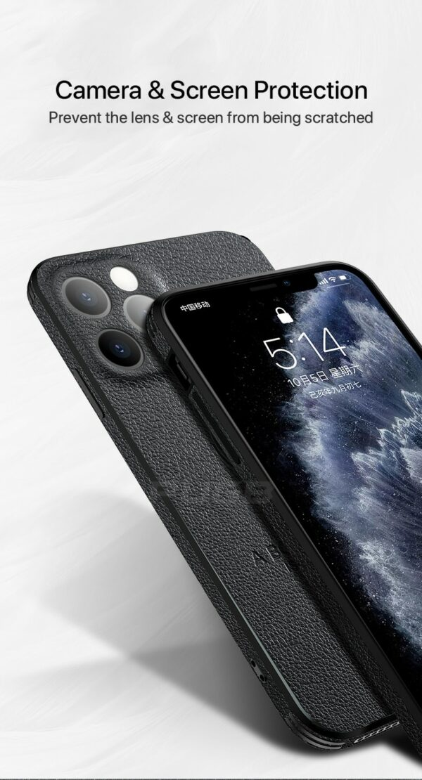 Luxury Leather Texture Square Frame Case on For iPhone 12 11 Pro Max Mini iPhone X XR XS Deer Camera Protection Shockproof Cover