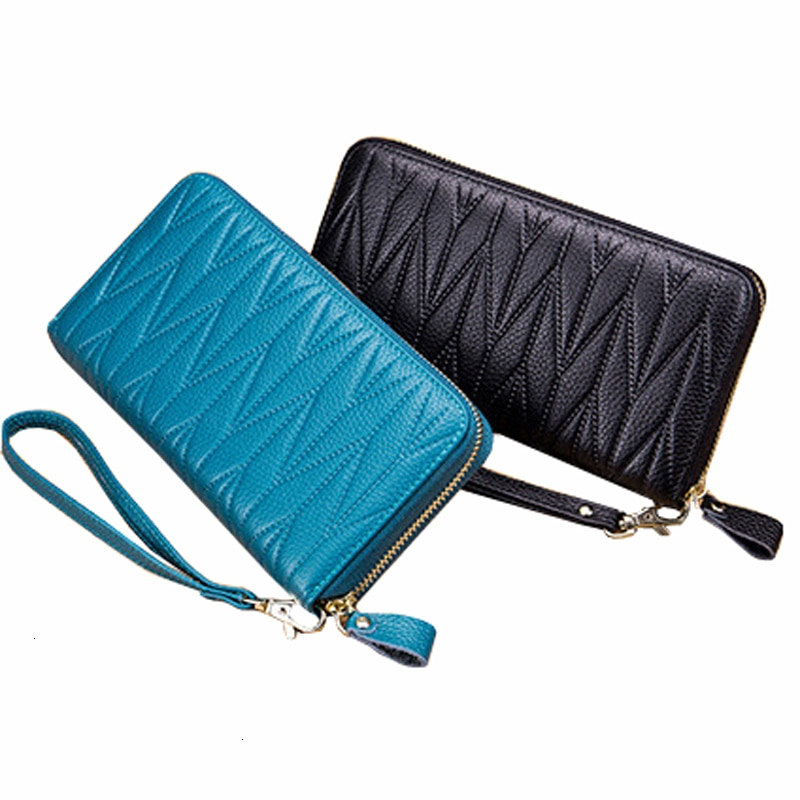 RFID Wallet for Women Genuine Leather Female Travel Purse Zipper Women's Wallet 36 Card Holder