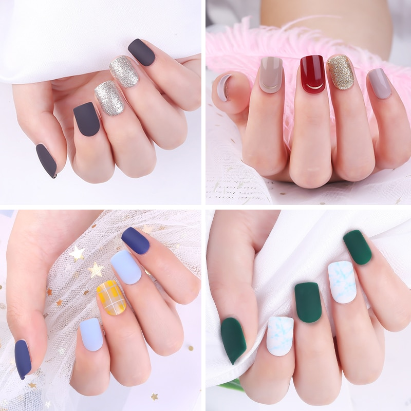 30pcs Detachable False Nail Artificial Tips Set Full Cover for Short Decoration Press On Nails Fake Art Extension Tips With Glue