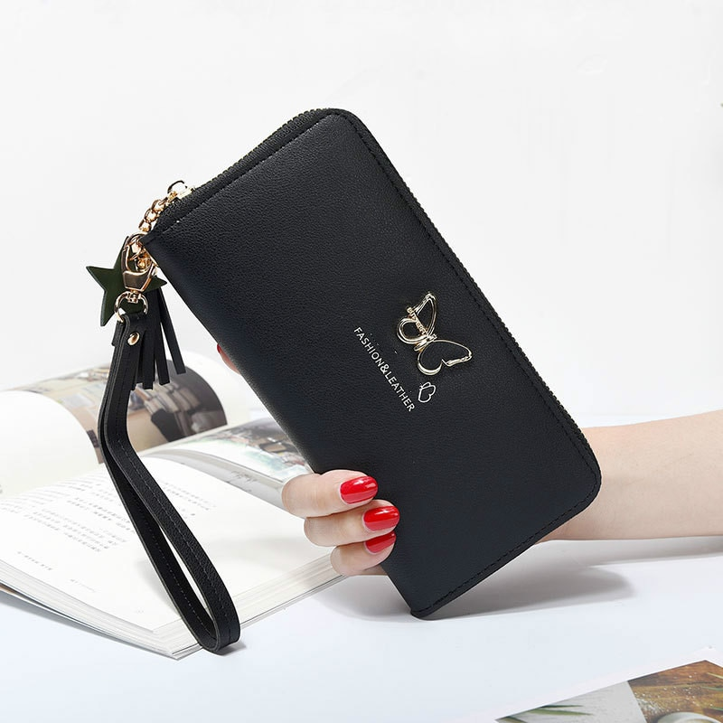 Fashion Butterfly Women Wallet Wrist Handle Long Section Money Pocket Women's Card Holders