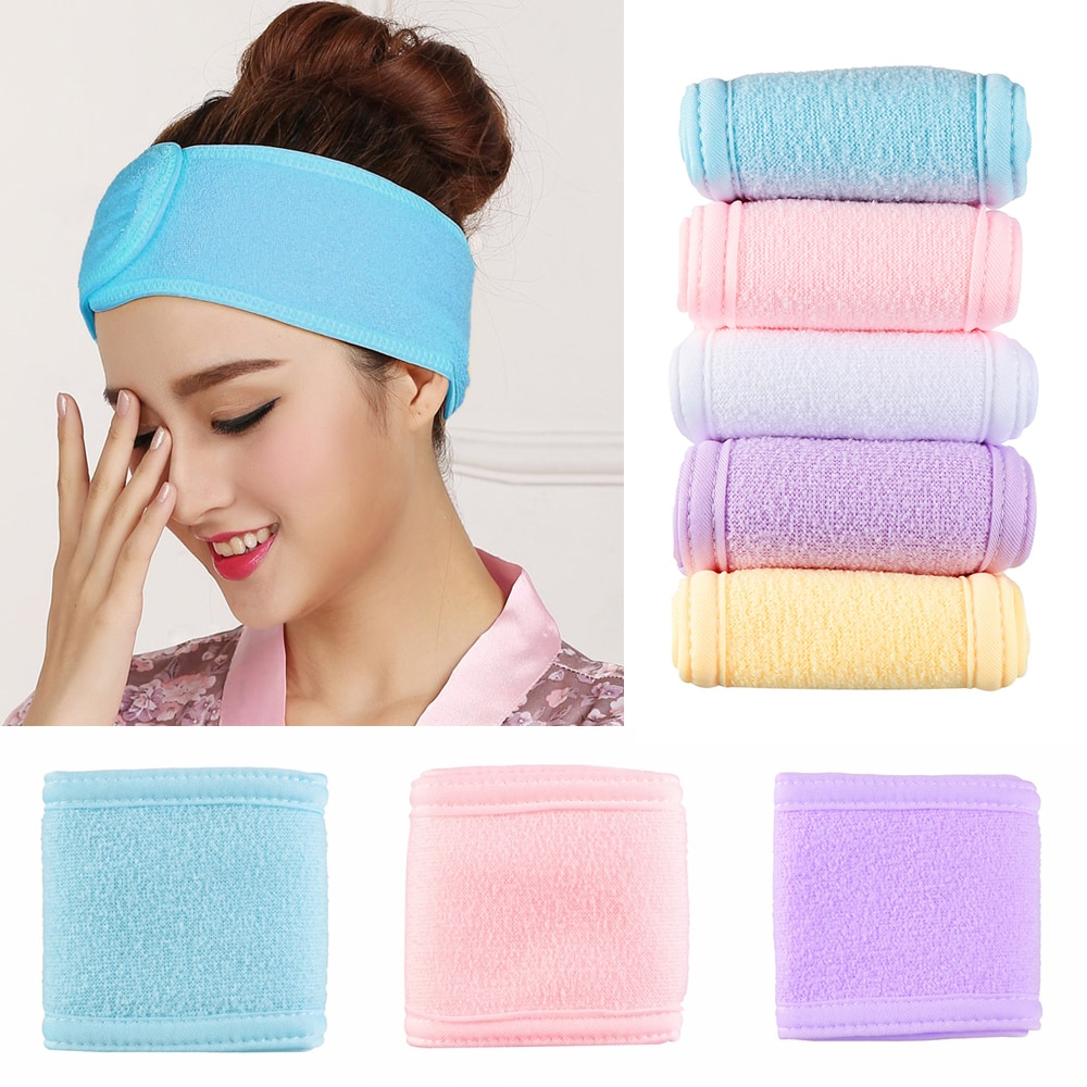 Adjustable Wide Hairband Makeup Head Band Toweling Hair Wrap Shower Cap Stretch Salon SPA Facial Headband Make Up Accessories