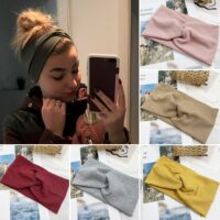 Women Headband Solid Color Wide Turban Twist Knitted Cotton Hairband Hair Accessories Twisted Knotted Headwrap