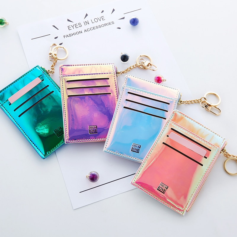 Glam Mini Wallet Women Coin Purse Fashion Solid Color Key Card Multifunction Wallet Laser Color