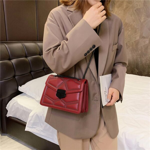 Rivet Chain Brand Designer PU-Leather Crossbody Bags For Women Simple Fashion Shoulder Bag Lady Luxury Small Handbags