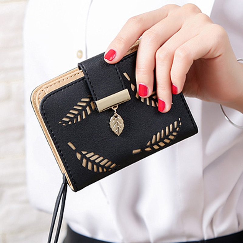 Golden Hollow Leaves Women Wallet Fashion Purse Female Short Wallets Pouch Handbag For Women Coin PU-Leather Purses Card Holder