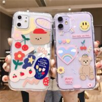 Cartoon Bear Phone Case For iPhone 12 Mini 11 Pro Max XR XS Max 7 8 Plus X Soft TPU Cute Letters Clear Back Cover Coque