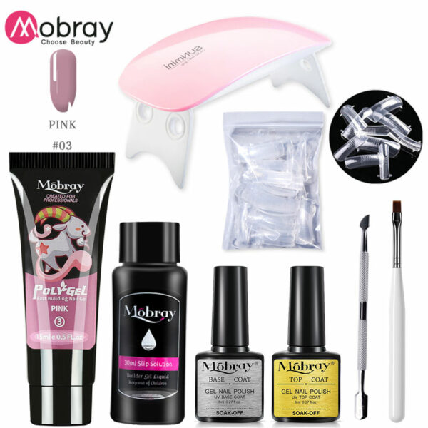 UV Poly Gel Sets Nail Gel Kit 15ml Poly Gel with UV/Led Lamp Quick Building Clear Gel Nail Polish for Nail Extensions