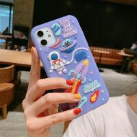 Cute Cartoon 3D Space Astronaut Case For iPhone 11 12 Pro Max Mini XS X XR 7 8 Plus SE 2020 Soft Silicone Dream Moon Phone Cases