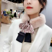 Skinny Silk Faux Fur Letter Printed Hair Head Scarf with Winter Warm Neck Collar Scarves for Women Foulard