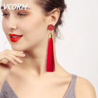 Bohemian Tassel Crystal Long Drop Earrings for Women Red Cotton Silk Fabric Fringe Earrings Fashion Woman Jewelry