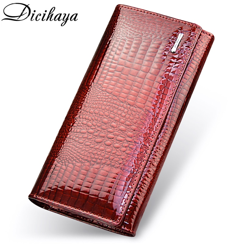 Genuine Leather Women's Wallets Fallow Long Double Zipper Wallet Ladies Bag Design