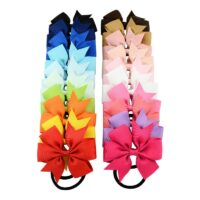 3.15 Inch Girl Boutique Grosgrain Ribbon Bow Elastic Hair Tie Rope Hair Band Bows for Kids Hair Accessories