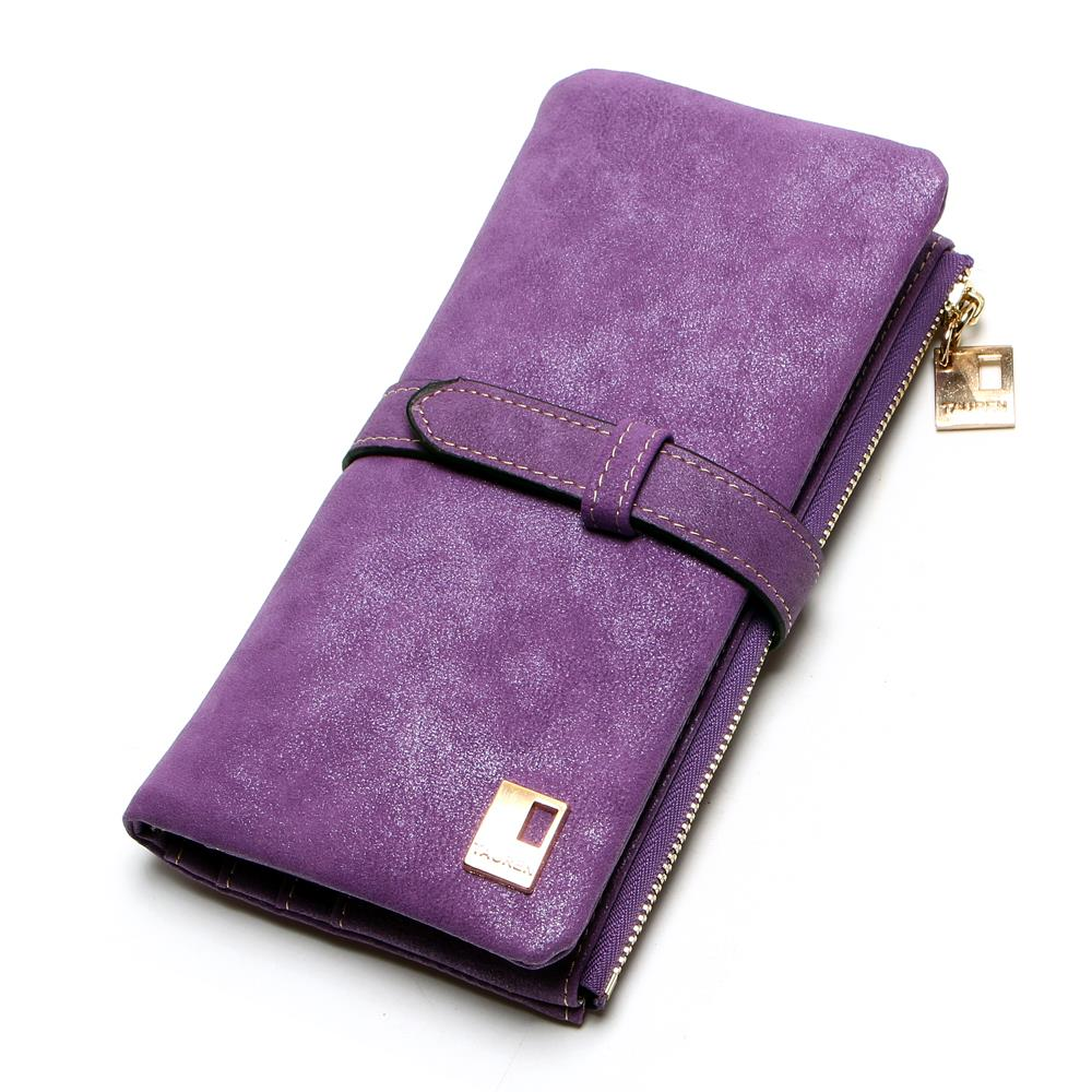 Fashion Women Wallets Faux-Nubuck Leather Drawstring Zipper Wallet Women's Long Design Purse Two Fold Clutch