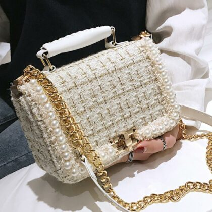 Fashion Female Square Tote bag Quality Woolen Pearl Wome...