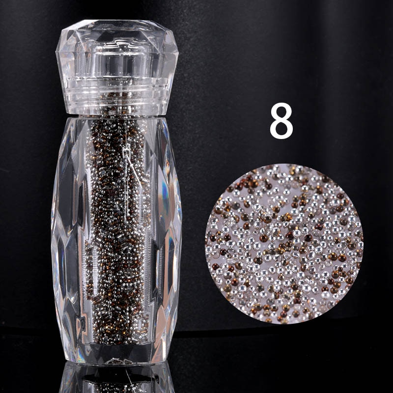 1 Bottle Crystal Caviar Beads Nail Rhinestones Micro Bead Gravel Multicolor Strass Crystal Glass For 3D Nails Art Decorations