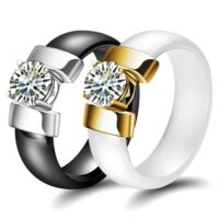 6mm White Black Ceramic Rings Plus Cubic Zirconia For Women Gold Color Stainless Steel Women Wedding Ring Engagement Jewelry