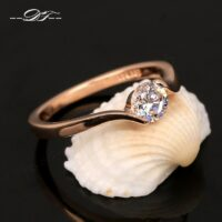 Cubic Zirconia Engagement/Wedding Finger Rings For Women Rose Gold Color Fashion Brand Jewelry For Women