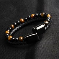 Fashion Men Jewelry Natural Stone Genuine Leather Bracelet Black Stainless Steel Magnetic Clasp Tiger Eye Bead Bracelet Men