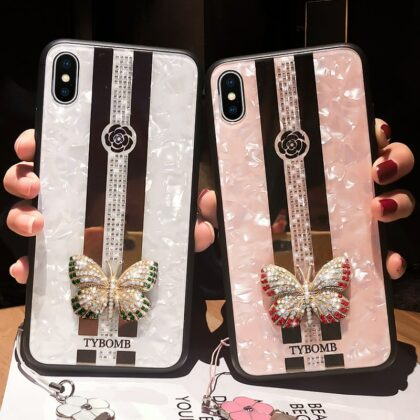 Luxury Creative Mirror Fashion 3D Inlaid butterfly Phone...