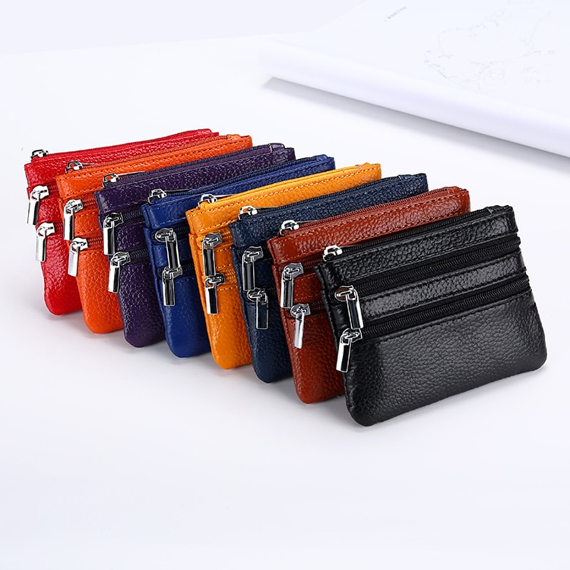 Genuine Leather Coin Purse Women Small Wallet Change Purses Money Bag Zipper Card Holder Wallets