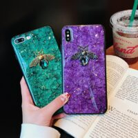 Luxury Diamond Bee Marble Glitter Silicone Case for iPhone 7 8 6 plus X XR XS 11 Pro MAX Cover for Samsung Galaxy S8 S9 S10 Note