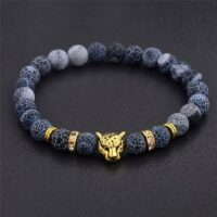 Weathering Stone Leopard Head Beaded Bracelet For Men New Fashion Natural Stone Tiger Eye Onyx Lava Beads Bracelets