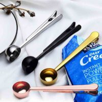 Multifunction Kitchen Supplies Coffee Scoop With Clip Stainless Steel Tea Measuring Cup Scoop Spoon