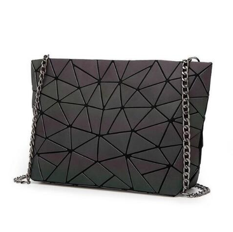 Luminous Handbag Women Geometry Tote Quilted Shoulder Bags Hologram Laser Plain Folding Handbags