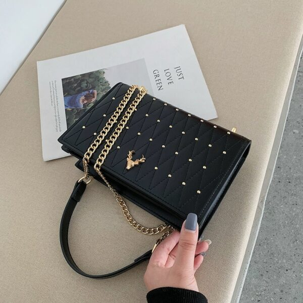 Pu Leather Crossbody Bags For Women Rivet Chains Shoulder Messenger Bag Female Ladies Hand Sling Luxury Handbags Designer