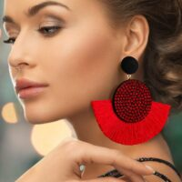 Bohemian Tassel Earrings for Women Cotton Silk Fabric Long Fringe Drop Dangle Earrings Party Female Jewelry