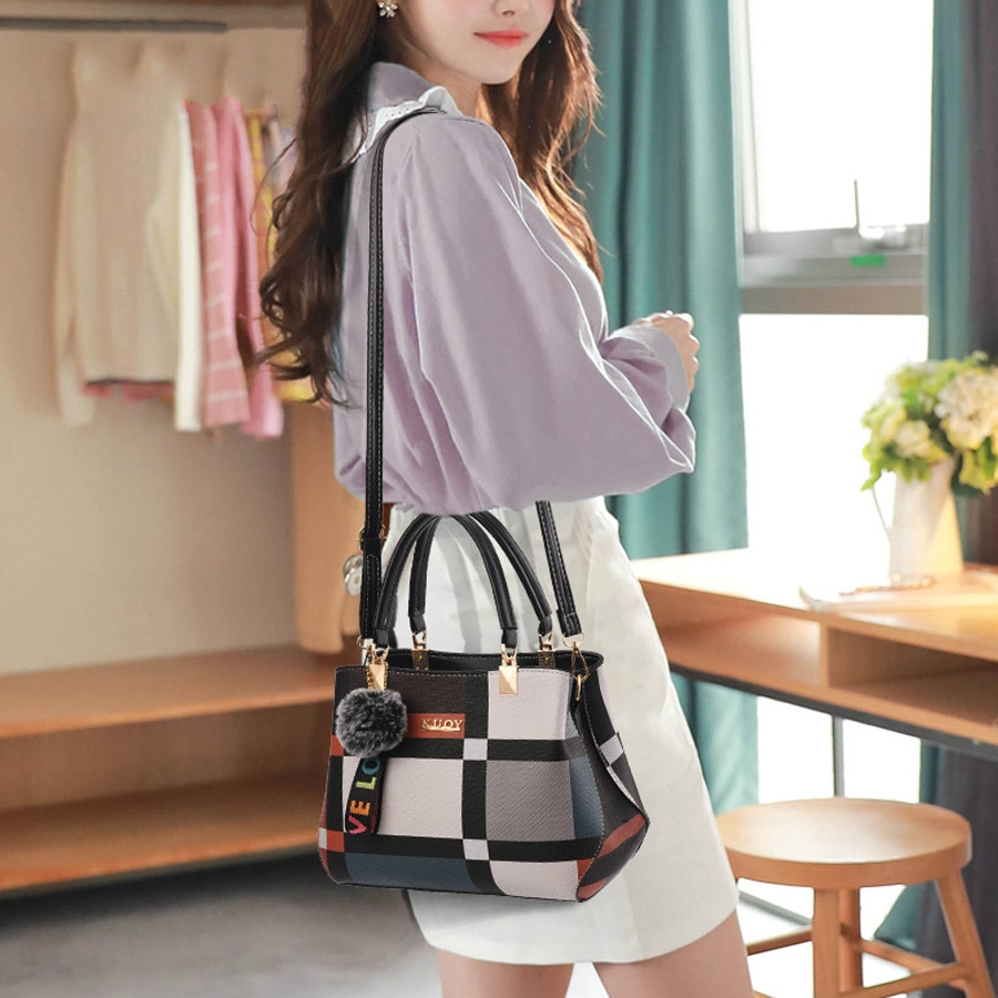 Fashion Plaid Shoulder Bag Stitching Wild Messenger Brand Female Totes Crossbody Bags Women Handbag