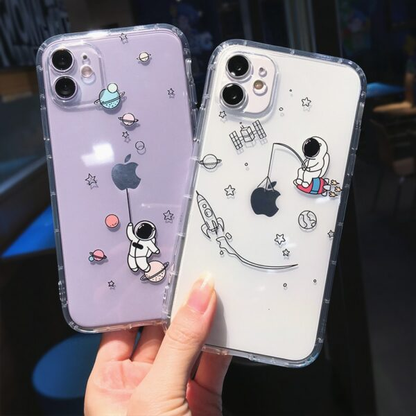 Creative Astronaut Shockproof Phone Case For iPhone 11 Pro Max X XR XS Max 7 8 Plus SE 2020 Cute Cartoon Funny Fundas