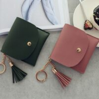 Feminine Cute Wallets Women Coin Purse Ladies PU-Leather Tassel & Metal Ring Clutch Keychain Thin Key Bag Card Holders Mini Pouch