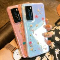 Pressed Real Dry Flowers Glitter Clear Case For Samsung Galaxy S20 Ultra S10 S9 S 20 Note 10 Plus A71 A51 A50 A70 A40 Soft Cover