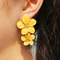 Big Double Flower Drop Earrings Summer Beach Party Metal Statement Earring for Woman Boho Fashion Jewelry Girl Gift