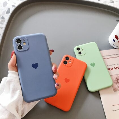 Frosted Lens protection Silicone heart phone case for ip...