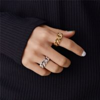 Gold Silver Color Chunky Chain Rings Link Twisted Geometric Rings for Women Vintage Open Rings Adjustable Trendy