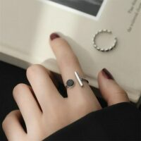 925 sterling silver black round geometric opening adjustable ring fashion dynamic sweet exquisite jewelry