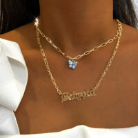 Bohemian Multilayer Necklaces For Women Men Gold Butterfly Portrait Coin Cross Crystal Chokers Necklace Sets Trendy New Jewelry